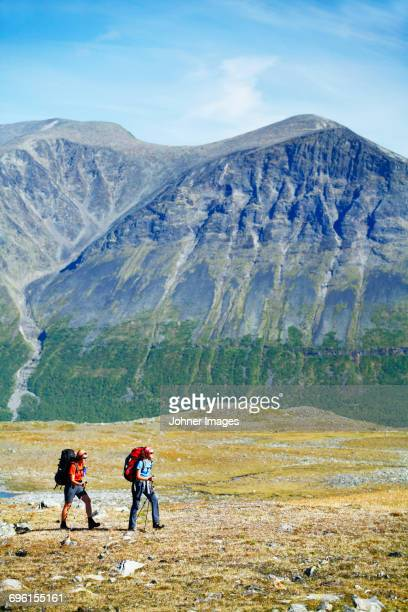 female backpackers hiking in landscape - norrbotten province stock photos and pictures