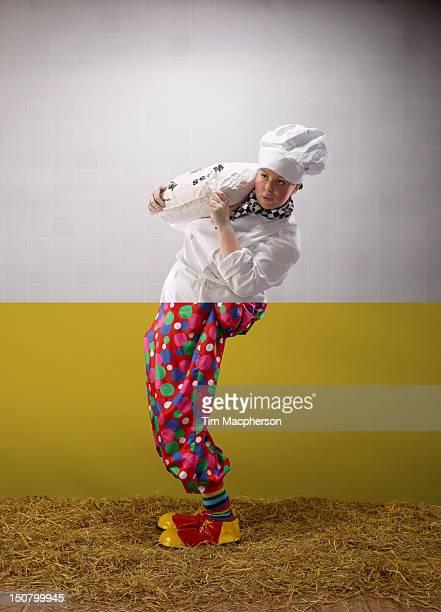 Female baker top, clown bottom