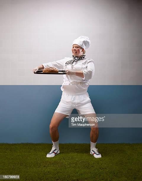Female baker top, tennis player bottom