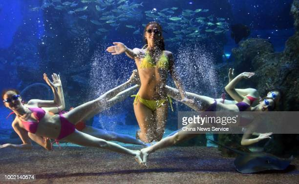 Female ballerinas from Russia perform underwater ballet to entertain spectators on the scorching day at Zuohai Underwater World on July 17 2018 in...
