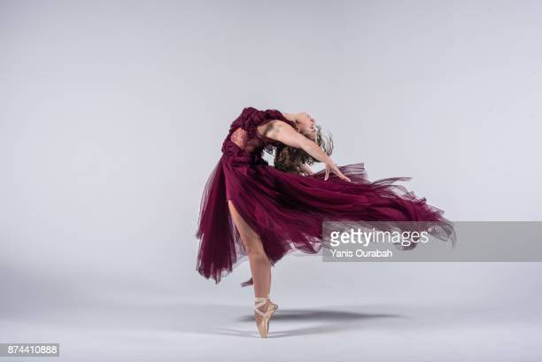 female ballet dancer dancing in studio - chiffon stock pictures, royalty-free photos & images