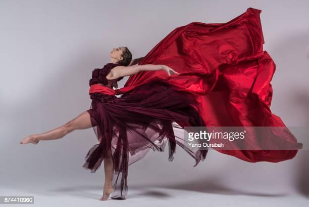 Female ballet dancer dancing in studio