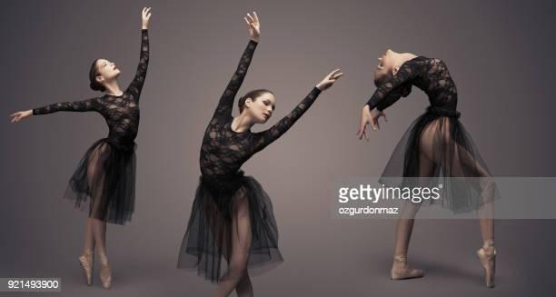 vrouwelijke balletdanseres - split acrobatiek stockfoto's en -beelden