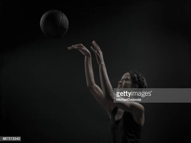 female basketball player - shooting baskets stock photos and pictures