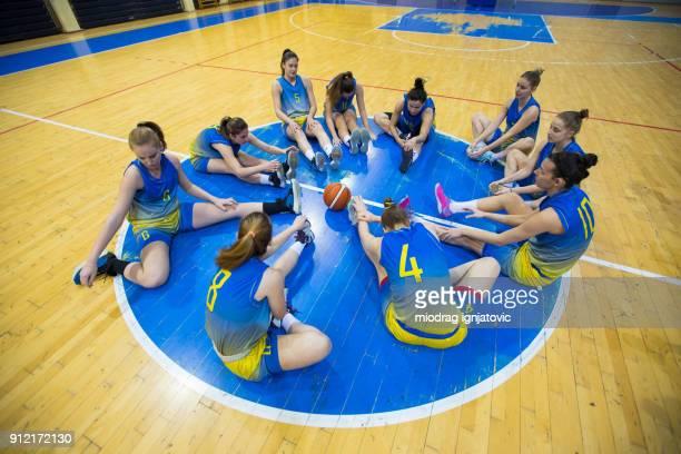 Female basketball Team preparing for the game