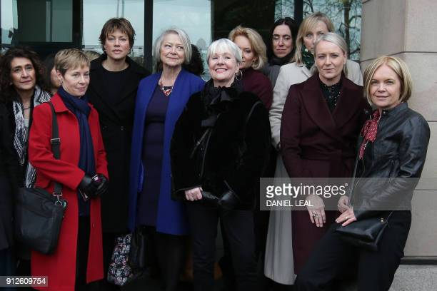 Female BBC employees including presenters Kate Silverton Kate Adie and Mariella Frostrup pose outside Portcullis house in London as Parliament...