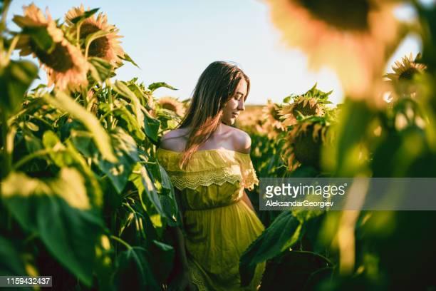 weibliche schönheit genießt die ruhe der sonnenblumen - gelbes kleid stock-fotos und bilder