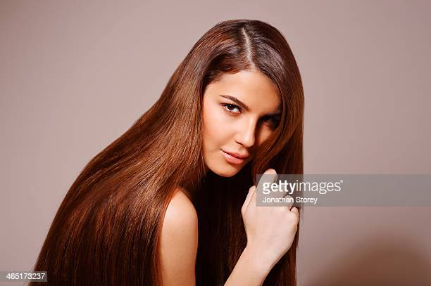 female beauty - straight hair stock pictures, royalty-free photos & images