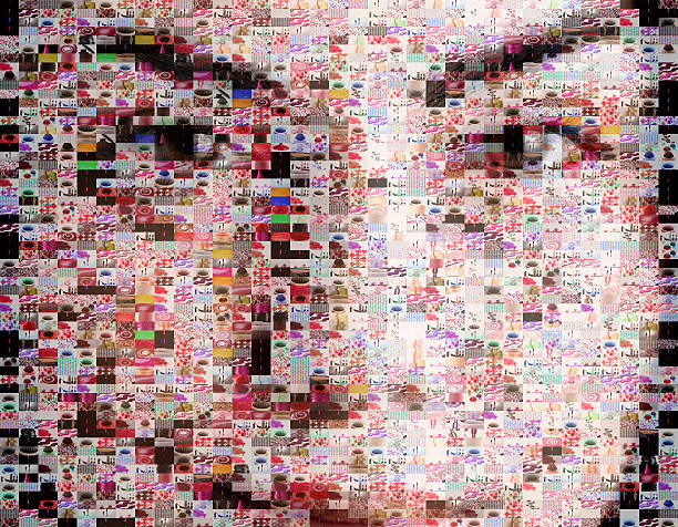 Female beauty portrait made out of makeup imagery