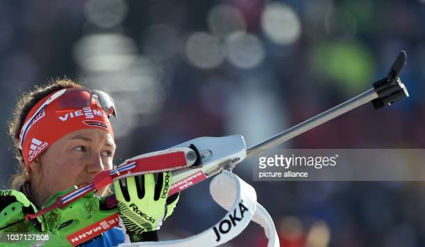 Female Biathlete Laura Dahlmeier of Germany at the shooting range during the Women 4x6 km Relay competition at the Biathlon World Championships in...