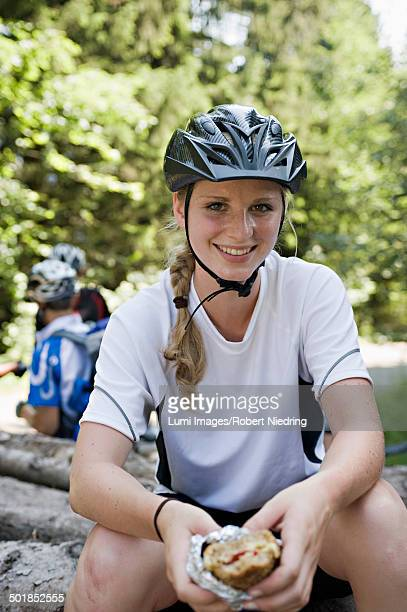 Female Bicyclist Resting, Sonthofen, Schattwald, Bavaria, Germany