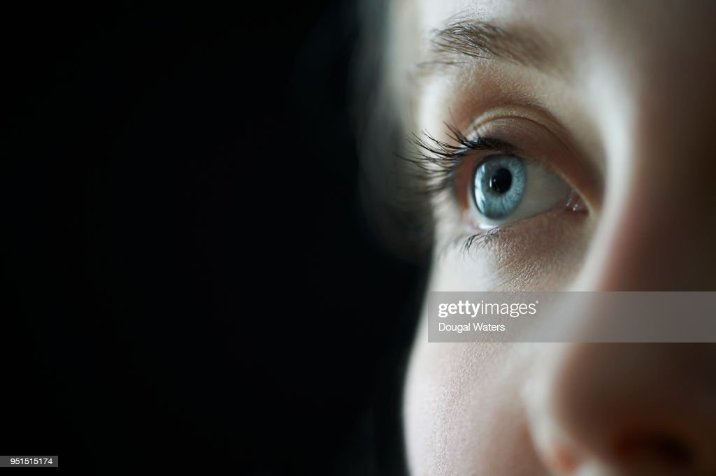 Female blue eye close up. : Stock Photo