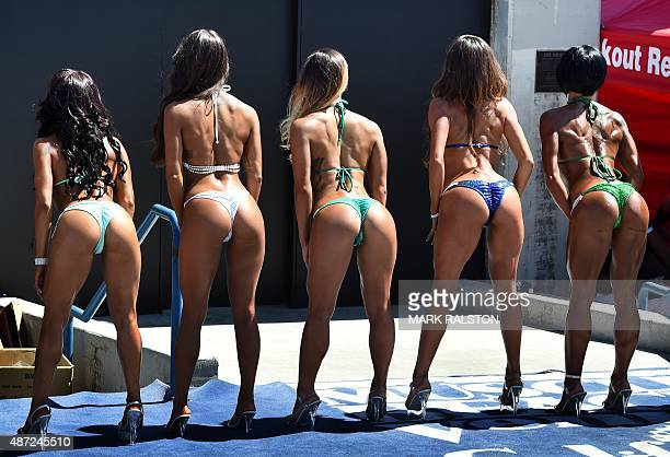 Female bodybuilders compete in the annual Muscle Beach Championship bodybuilding and bikini competition at Venice Beach California on September 7...