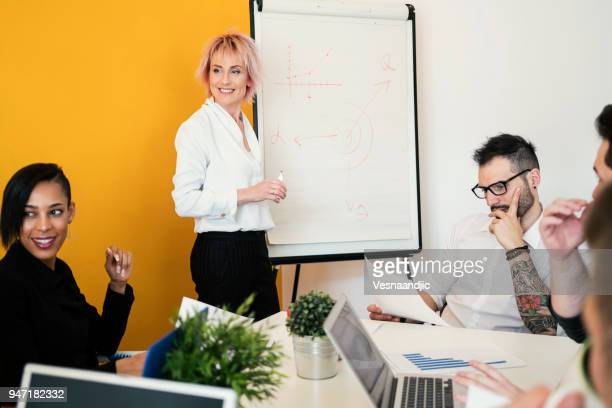 Female boss shows their success on whiteboard  at business meeting