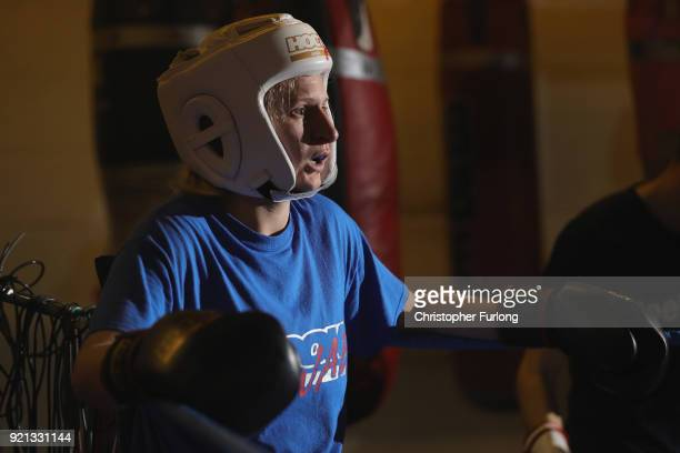 Female boxer Charliegh Carter aged 22 rests in the corner of the ring aftr a sparring bout at the Hook Jab Boxing Gym on September 12 2016 in...