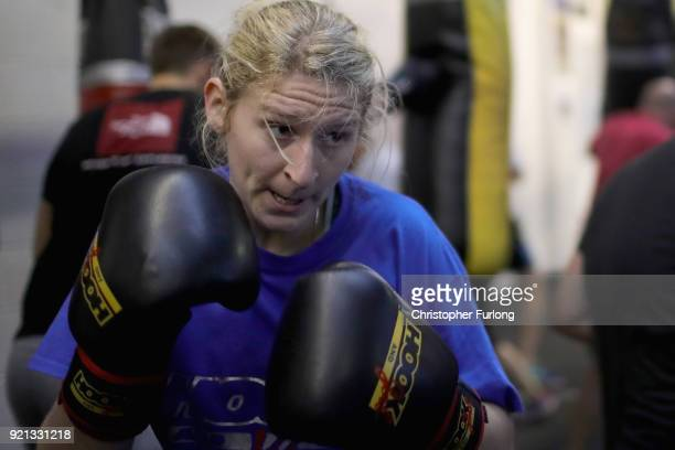 Female boxer Charliegh Carter aged 22 trains at the punch bag at the Hook Jab Boxing Gym on September 12 2016 in Warrington England The popularity of...
