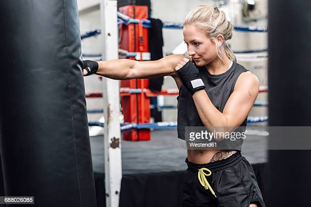 female boxer exercising at punch bag - kampfsport stock-fotos und bilder