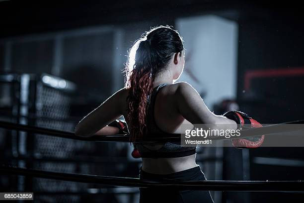 Female boxer in boxing ring