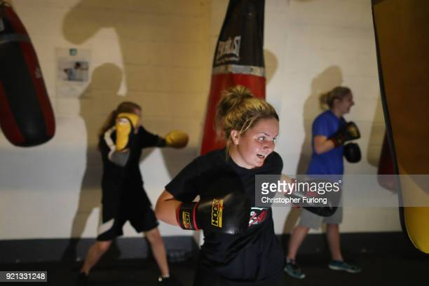 Female boxers Ellie Hyde works out at the punch bag during training at the Hook Jab Boxing Gym on September 12 2016 in Warrington England The...