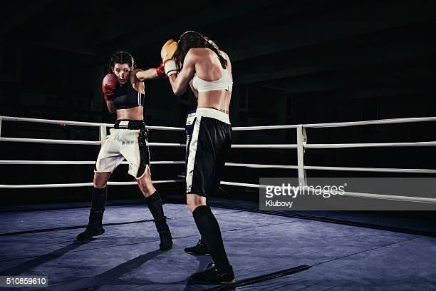 雌ボクサー姿で戦うボクシングリング - 格闘技 ストックフォトと画像