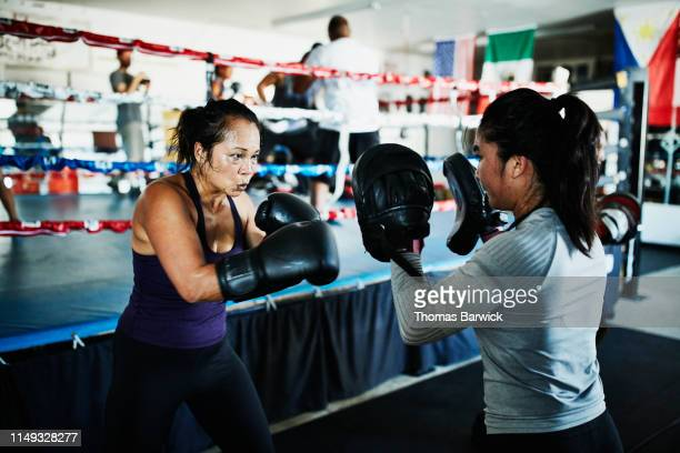 female boxers working out together in boxing gym - determination stock pictures, royalty-free photos & images