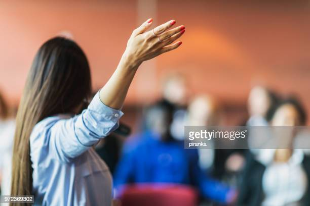 female business presenter - presenter stock pictures, royalty-free photos & images