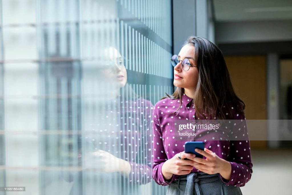 Female business professional taking a break from work : Stock Photo