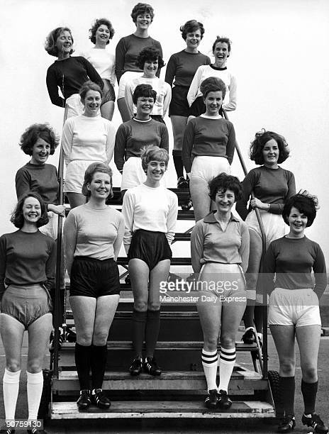 Female cabin crew from British European Airways wearing football gear Wendy Spalding Ilene Williams Sonia Ejje Irene Garbutt Dorothy Wilkinson Lesley...