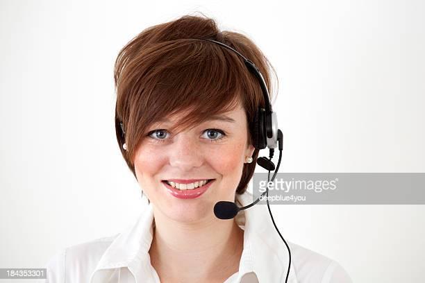 female call center agent on white