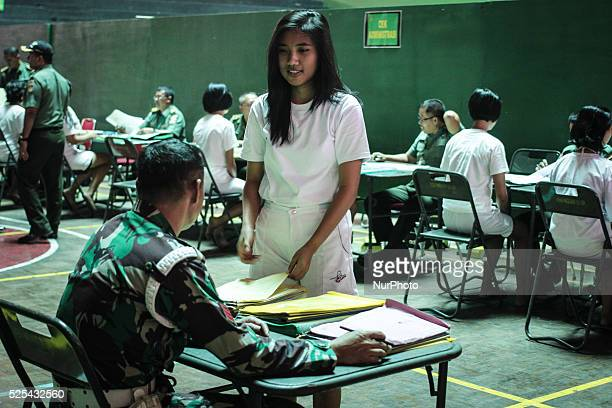 Female candidate's career noncommissioned officer corps soldier army women attend for a medical checkup at the Diponegoro Military Command...