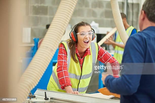 female carpenter in the woodshop