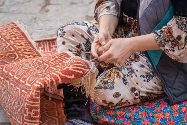 Female Carpet Weaver Detail Manual Worker Uzbekistan Xiva Khiva Хива