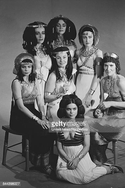Female cast members of the BBC television drama series 'The Cleopatras' pictured together in Ancient Egyptian period costume in London on 29th...