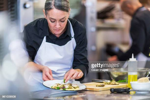 female chef garnishing food while coworker working in background at restaurant - garnish stock pictures, royalty-free photos & images