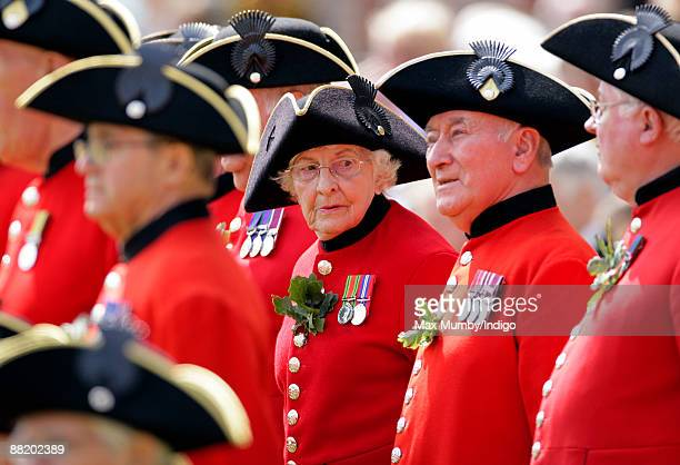 Female Chelsea Pensioner Dorothy Hughes aged 85 attends the annual Founders Day Parade at Royal Hospital Chelsea on June 4, 2009 in London, England.