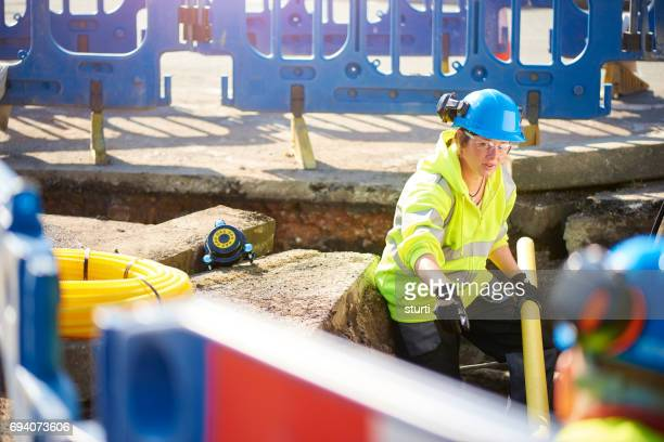 female civil engineer with gas pipeline