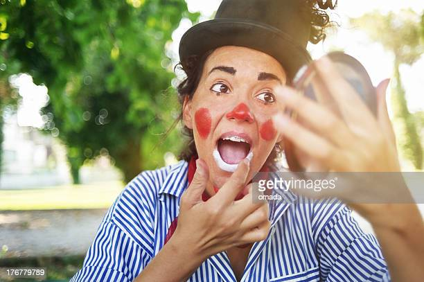 female clown - happy clown faces stock photos and pictures