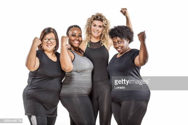 female coach and overweight middle aged women group pic - only mature women stock pictures, royalty-free photos & images