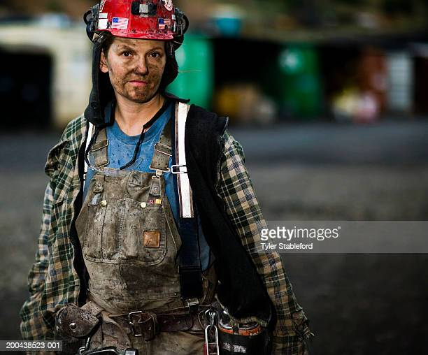 female coal miner outdoors, portrait, close-up - coal miner stock photos and pictures