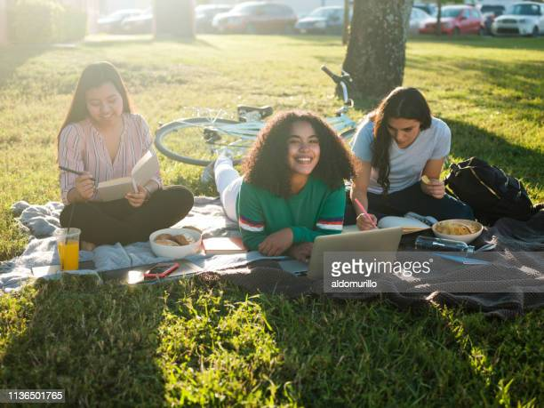 female college girl studying - mexican picnic stock pictures, royalty-free photos & images