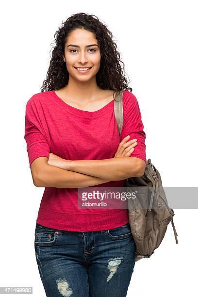 estudante universitário feminino - fundo branco - fotografias e filmes do acervo