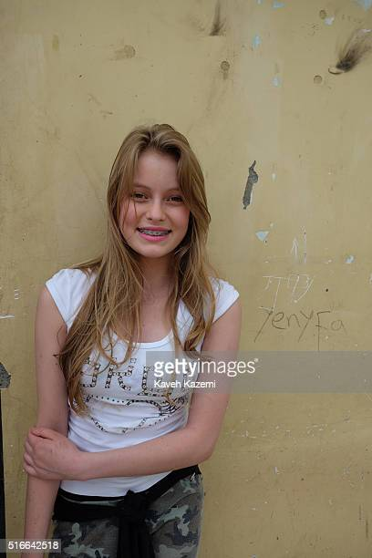 A female Colombian teenager wearing dental braces seen in a neighborhood on January 20 2016 in Mistrato Colombia Mistrato is a town and municipality...