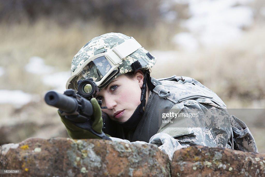 Female combat soldier : Stock Photo