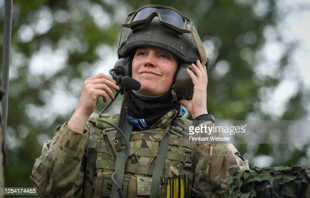 Female commander of a Challenger 2 Main Battle Tank during a training exercise on Salisbury Plain Training Area on July 03, 2020 in Salisbury,...