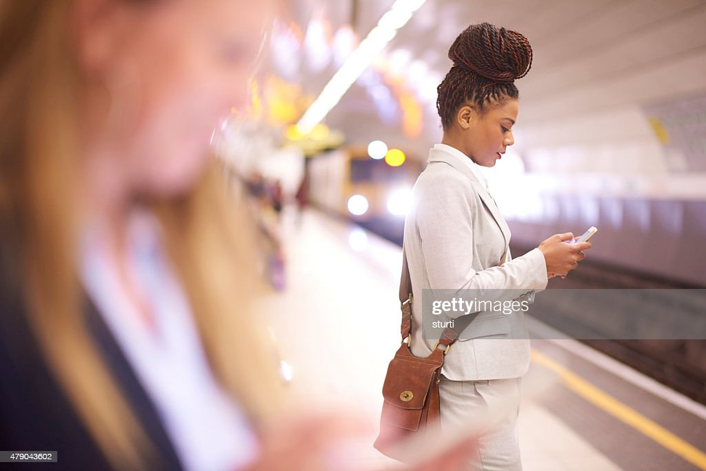 female commuter in the subway : Stock Photo