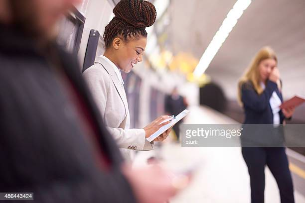 female commuter in the subway