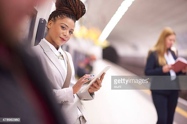 female commuter in the subway portrait