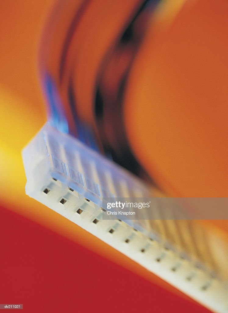 Female connection port on orange / yellow gradients : Stock Photo