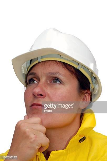 Weibliche Bau Arbeiter-isoliert