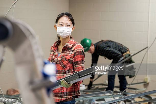 female construction worker - pants pulled down stock pictures, royalty-free photos & images